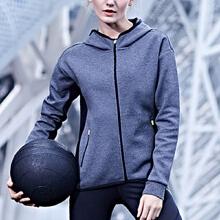 安踏女装连帽修身运动外套 针织运动衣舒适开衫风衣