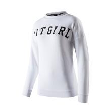 安踏长袖女 2019春季新款女休闲舒适学生字母针织跑步运动上衣T恤
