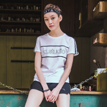 安踏运动短袖女 2019夏季新款舒适透气短袖运动针织衫小字母款