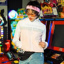 [张俪同款]安踏�外套女 2019春新款皮肤衣ω 女拼接运动风衣外套夹克