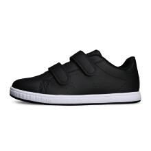 安踏童鞋板鞋女童 新款小学生魔术贴黑色洋气儿童运动板鞋滑板鞋