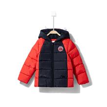 安踏童装羽绒服男童 春季新款小童短款连帽保暖外套羽绒棉服3-6岁