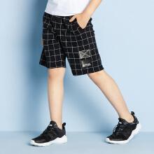 安踏儿童2019新款夏季男中大童格子针织五分裤短裤