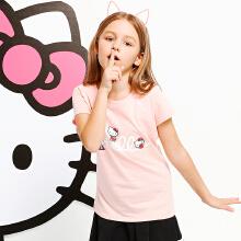 安踏童装儿童女中大童T恤 秋冬新款公主粉色学生运动短袖T恤