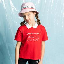 安踏儿童2019新款夏季中大童可爱印花女童短袖POLO衫