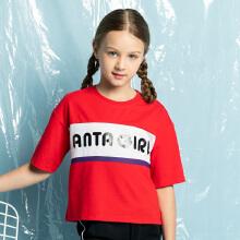 安踏儿童2019新款夏季女中大童短袖针织衫