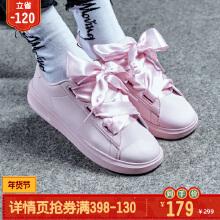 女鞋板鞋春季新款厚底休闲鞋潮小白鞋女蝴蝶结粉色运动板鞋