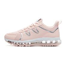 女鞋跑步鞋2019春季新款皮面全掌气垫鞋粉色运动鞋女旅游鞋