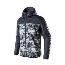 男子防风衣外套新款休闲服舒适运动迷彩拉链连帽跑步服