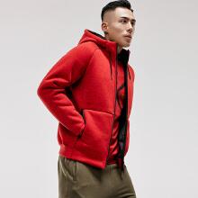 运动外套男秋冬新款羊羔绒保暖开衫连帽运动卫衣外套