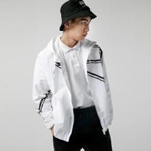 运动风衣男2019春季新款黑白LOGO演绎时尚简约外套开衫