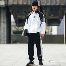 设计师薄款梭织潮流运动长裤男