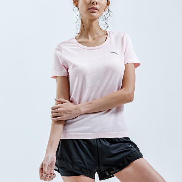 安踏 跑步系列 女子短袖针织衫-96825114