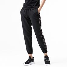 运动裤女2019春夏新款时尚修身条纹纯色运动梭织长裤