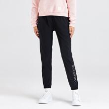 运动裤女2019春季新款时尚黑色舒适梭织运动长裤