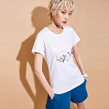 安踏2019新款夏季女子棉短T短袖