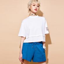 安踏女子2019新款夏季宽松刺绣短袖短T