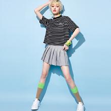 安踏女子2019新款夏季短装条纹短T短袖