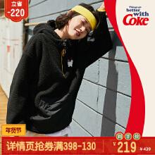 可口可乐联名款女装连帽套头卫衣2019秋冬季