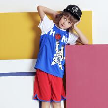 童装中大儿童男童汤普森篮球套运动比赛套装背心短裤两件套
