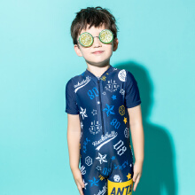 安踏儿童2019新款夏季小童连体游泳套装