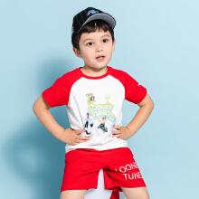 安踏儿童2019新款夏季小童可爱卡通图案短袖套装