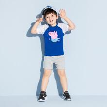 安踏儿童2019新款夏季男小童图案针织套装