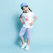 安踏儿童2019新款夏季小童女图案套装