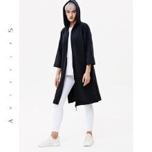 antaplus女连帽外套时尚运动中长款外套2018秋冬新款