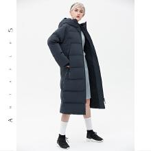 安踏antaplus女保暖鹅绒长款羽绒服连帽毛领2018冬季新款